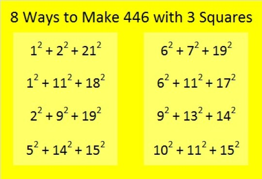 8 ways to make 446 with 3 squares
