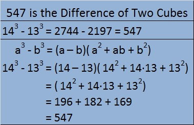 547 is difference of 2 cubes