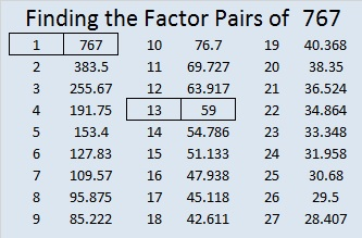767-factor-pairs