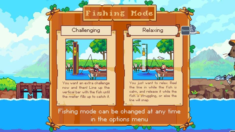 The two fishing options in Luna's Fishing Garden