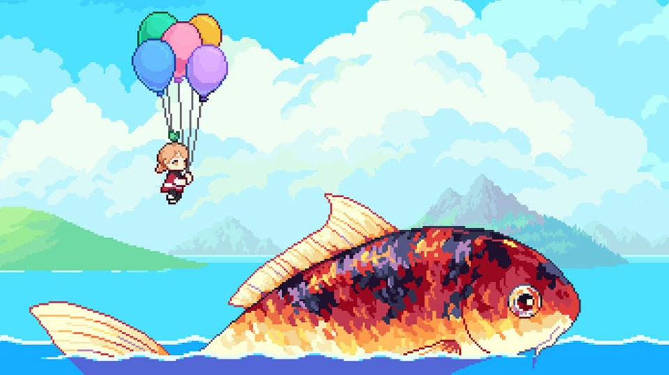 Cassie floating over Sam the fish