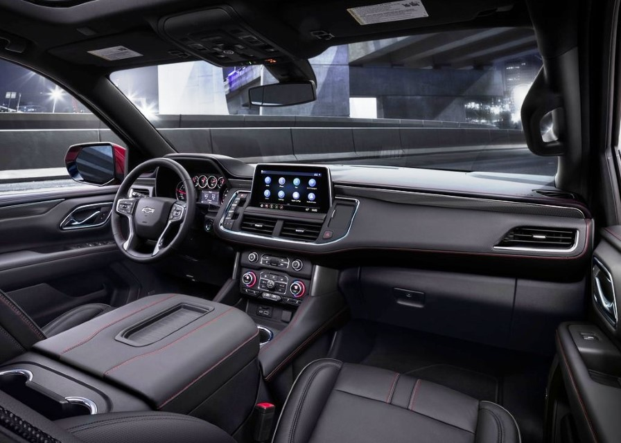 2021 Chevy Tahoe Interior with Black Leather Color