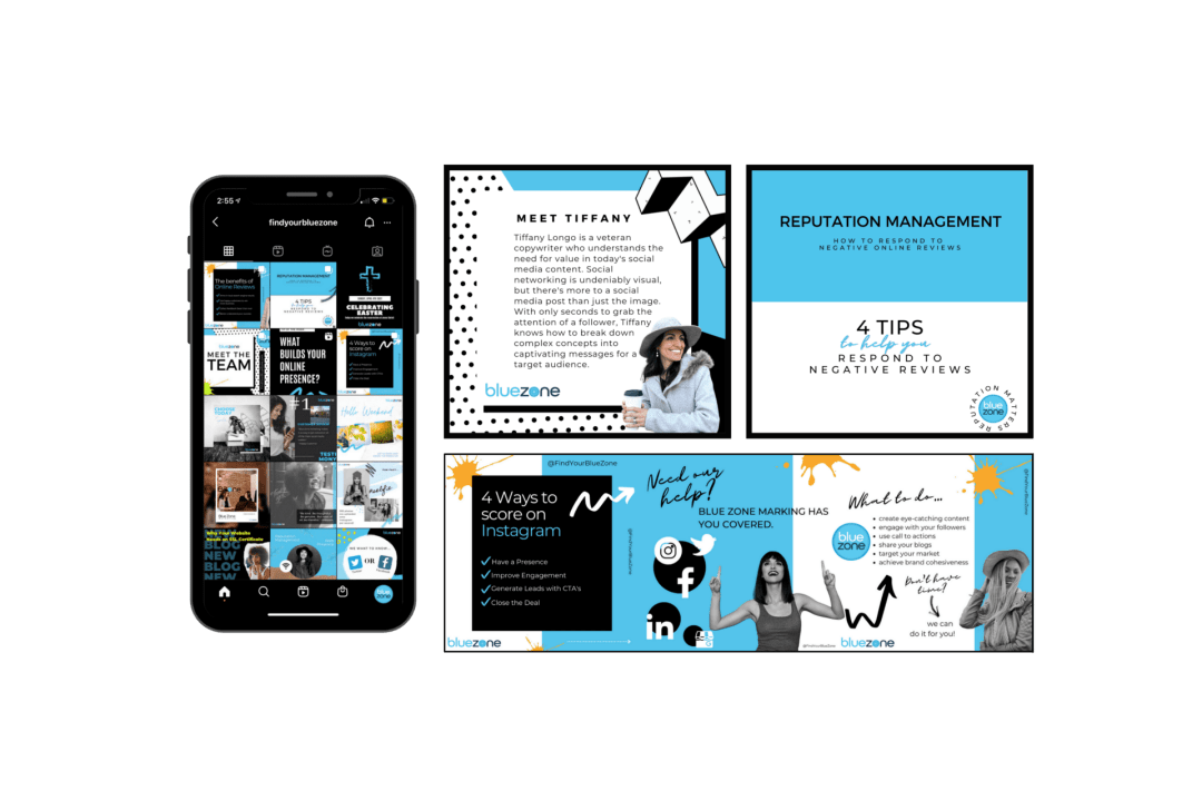 Mobile content displayed in phone mockup