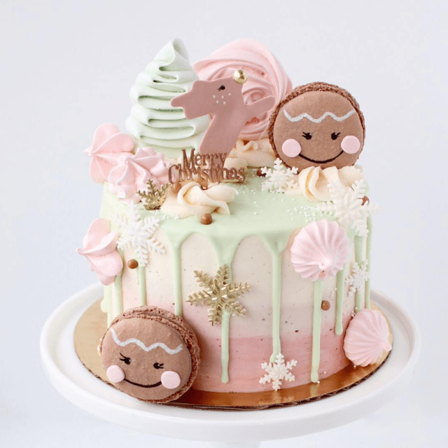 Pastel Christmas Drip Cake