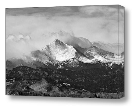 Longs Peak Black and white fine art photography print and canvas art
