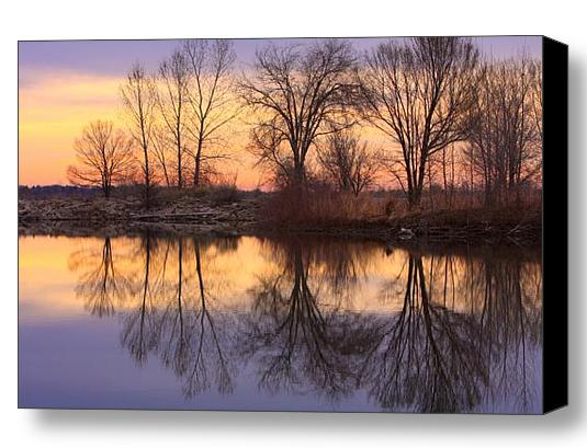 Sunrise Lake Reflections Fine Art Stretched Canvas Print