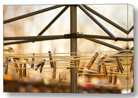Clothespins on the Line Stretched Canvas Print / Canvas Art