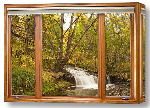 Creek Waterfall Picture Window View Discover Beauty of Windows Scenic Views With Window Fine Art Prints