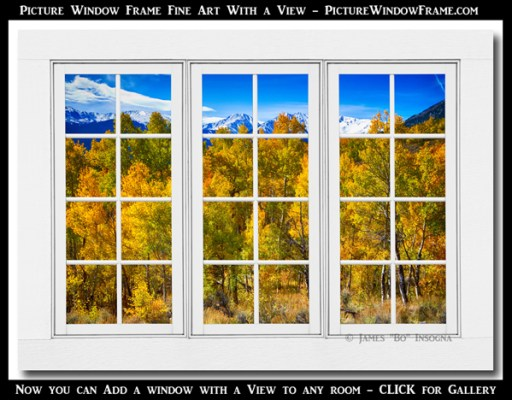 Independence Pass Autumn Colors White Window Frame View