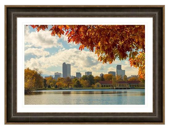 Denver Skyline Fall Foliage View Framed Print