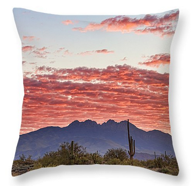 Arizona Four Peaks Mountain Colorful View Throw Pillow 18 x 18