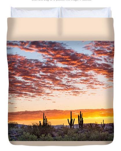 Colorful Sonoran Desert Sunrise Queen Duvet Cover