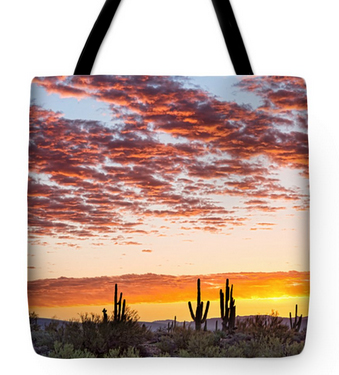 "Colorful Sonoran Desert Sunrise Tote Bag 18"" x 18"""