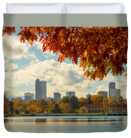 Denver Skyline Fall Foliage View King Duvet Cover