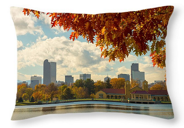 "Denver Skyline Fall Foliage View Throw Pillow 20"" x 14"""