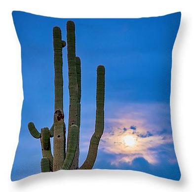 """Giant Saguaro Cactus Golden Cloudy Full Moonset Throw Pillow 18"""""""