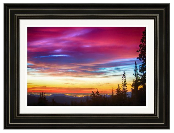 City Lights Sunrise View From Rollins Pass Framed Print