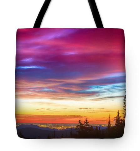 City Lights Sunrise View From Rollins Pass Tote Bag