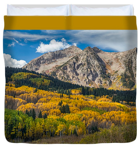 Rocky Mountain Autumn Season Colors King Duvet Cover