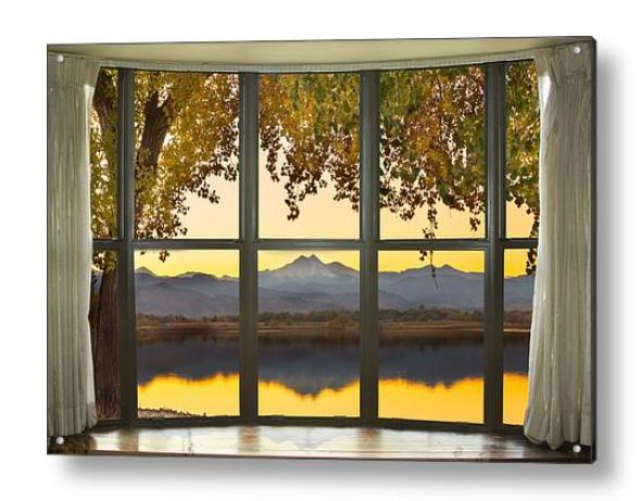 Rocky Mountain Golden Reflections Bay Window View Acrylic Print