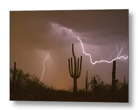 Sonoran Saguaro Southwest Desert Lightning Strike Metal Print