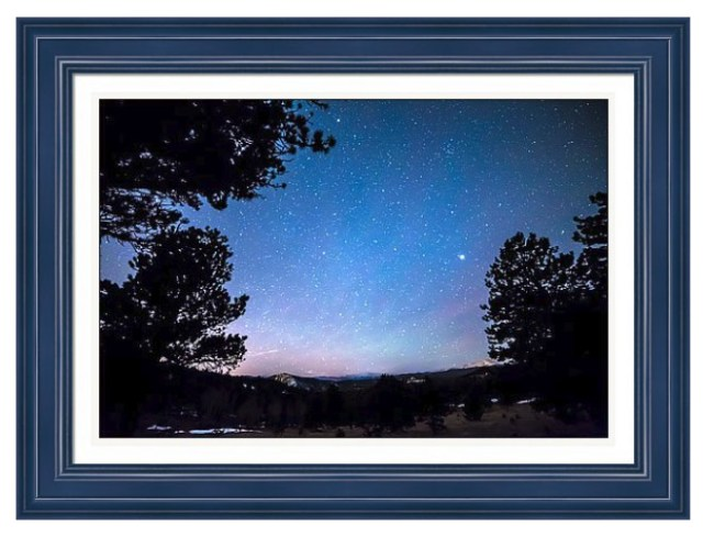 Starry Rocky Mountain Forest Night Framed Print