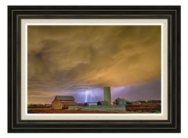Thunderstorm Hunkering Down On The Farm Framed Print