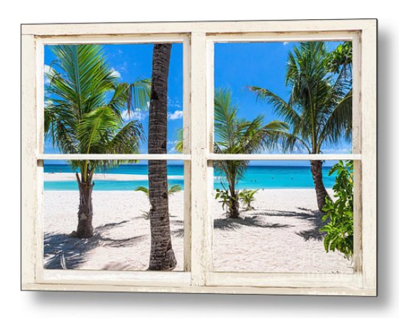 Tropical Island Rustic Window View Metal Print
