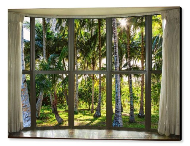 Tropical Jungle Reflections Bay Window View Canvas Print