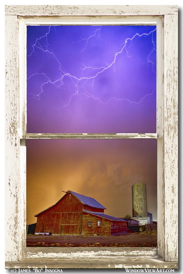 Colorful Storm Farm House Window View