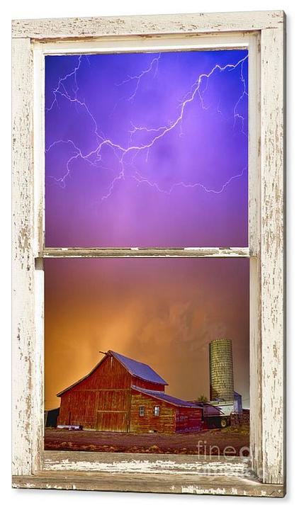 Colorful Storm Farm House Window View Acrylic Print