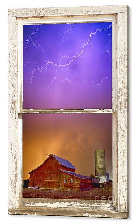Colorful Storm Farm House Window View Canvas Print