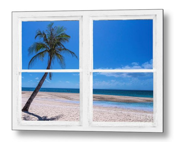 Tropical Paradise Whitewash Picture Window View Metal Print