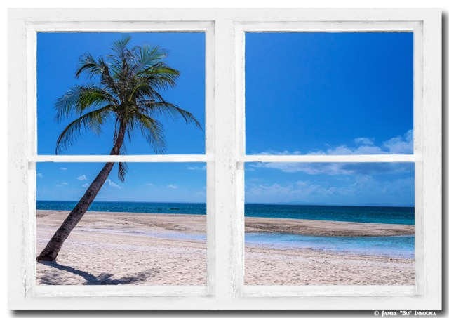 Tropical Paradise Whitewash Picture Window View