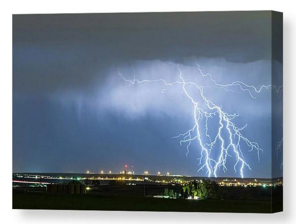 Northeast Colorado Lightning Strike And City Lights Canvas Print