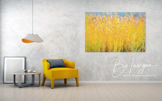 Abstract Colorful Cattails Grasses Painting Art Print