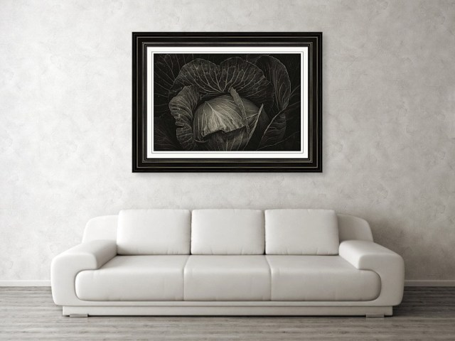 black cabbage framed art print