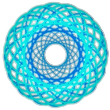 Spirograph Layer Art Blue Circle