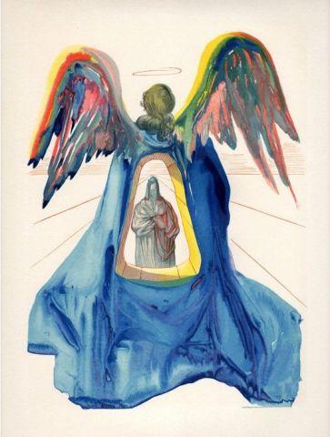 RARE AUTHENTIC 1960 Salvador DALI WOODCUT Dante Purified ANGEL FRAMED COA  Online Art Gallery