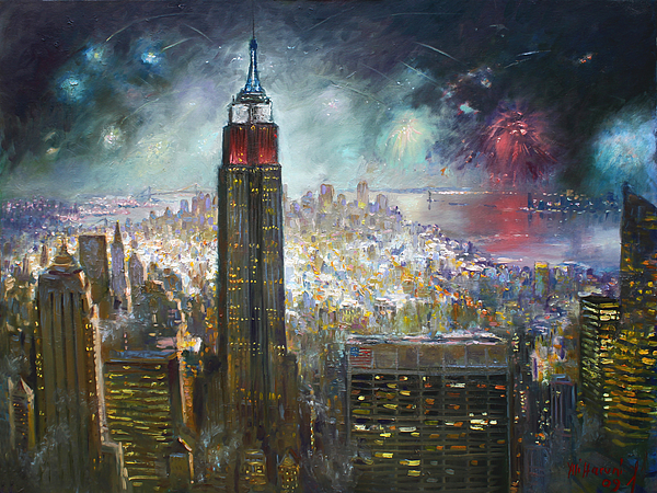Nyc  Empire State Building Painting by Ylli Haruni Landscape Painting   Nyc  Empire State Building by Ylli Haruni