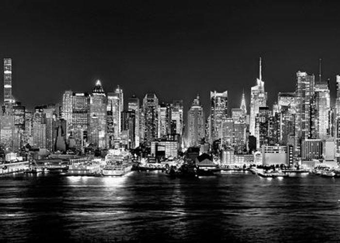 New York City Nyc Skyline Midtown Manhattan At Night Black
