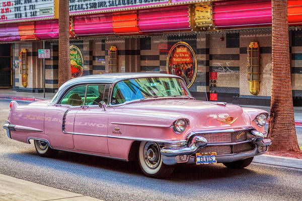 Elvis Pink Cadillac Art Print featuring the photograph Elvis Pink Cadillac Tour On Fremont Street Experience by Tatiana Travelways
