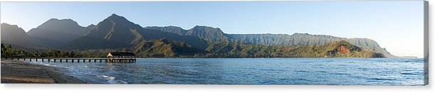 Wide panorama of Hanalei Bay sold as a canvas print on Fine Art America