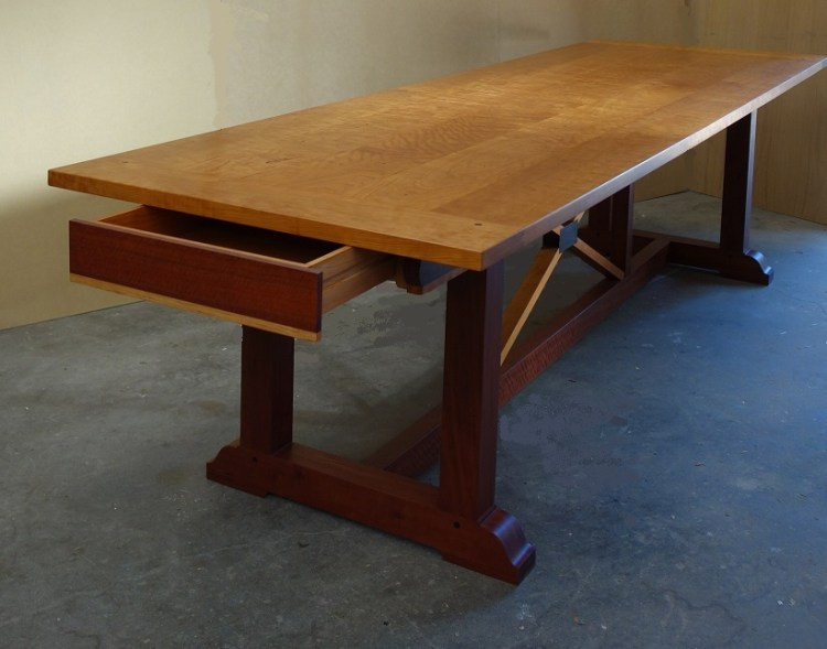 Cherry wood refectory table 4