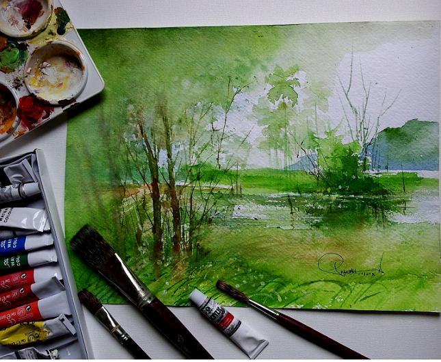 how to paint landscape watercolor