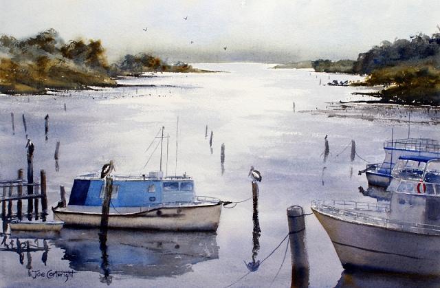 boat-near-shore-painting