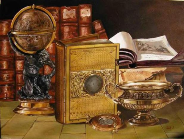 books-oil-painting