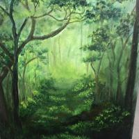 Step By Step Forest Acrylic Painting By Artist Mahith
