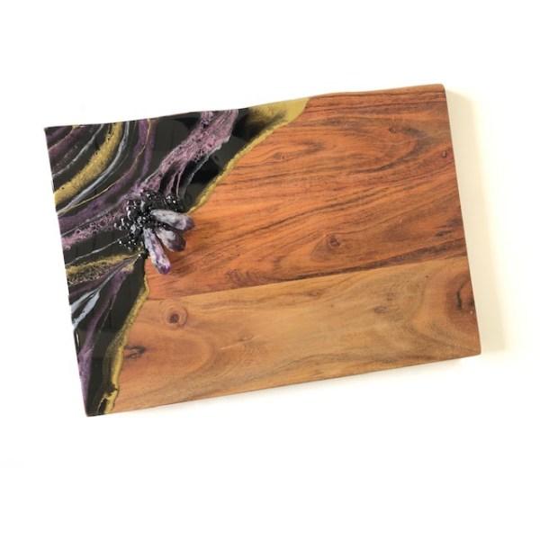 amethyst black tourmaline cheeseboard