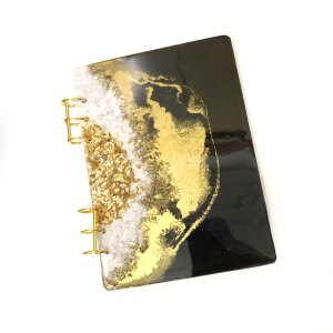 Black and Gold Clear Quartz Journal